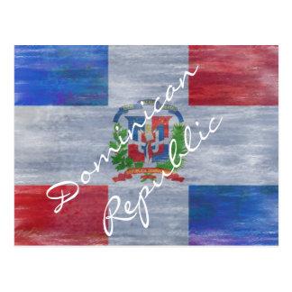 Beunruhigte Flagge der Dominikanischen Republik Postkarte