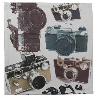 beunruhigte Fotografphotographie Retro Kamera Stoffserviette