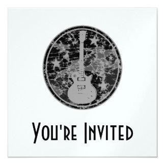 Beunruhigte Gitarre hat Miniatur-Silhouette Quadratische 13,3 Cm Einladungskarte