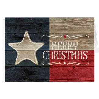 Beunruhigte hölzerne Texas-Flaggen-Weihnachtskarte Karte