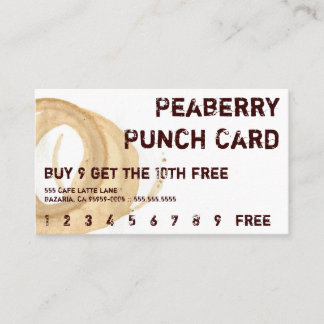 Distressed Coffee Stain Drink Punchcard