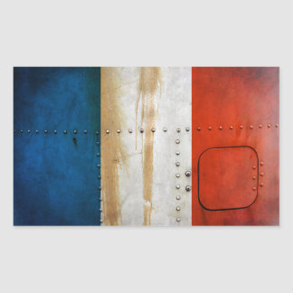 Beunruhigte Landesflaggen | Frankreich Rechteckiger Aufkleber