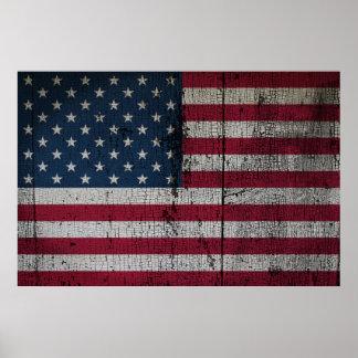 Beunruhigte Landesflaggen | Vereinigte Staaten Poster