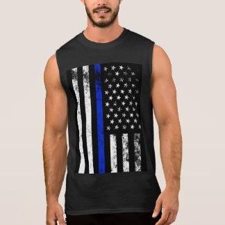 Beunruhigte Polizei-Art USA-Flagge Ärmelloses Shirt