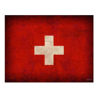 Beunruhigte Postkarten der Schweiz Flagge