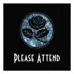 Beunruhigte Rosen-Silhouette-Miniatur - Blau Personalisierte Ankündigungskarte
