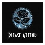 Beunruhigte Rosen-Silhouette-Miniatur - Blau Quadratische 13,3 Cm Einladungskarte