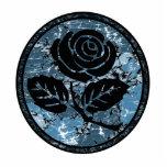Beunruhigte Rosen-Silhouette-Miniatur - Blau Fotoskulpturen