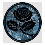 Beunruhigte Rosen-Silhouette-Miniatur - Blau Plakatdrucke