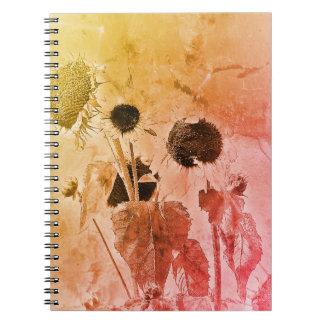 Beunruhigte Sonnenblume Spiral Notizblock