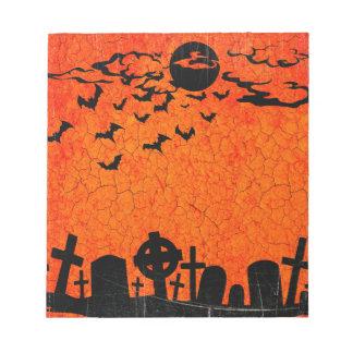 Beunruhigter Friedhof - orange schwarzer Notizblock