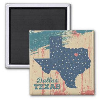 Beunruhigter hölzerner Magnet - Dallas Texas Quadratischer Magnet
