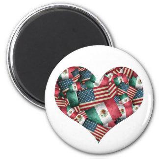 Beunruhigter Mexikaner/amerikanische Flaggen - Runder Magnet 5,1 Cm