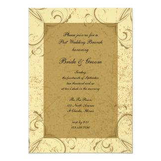 Beunruhigter und eleganter Posten-Hochzeits-Brunch 12,7 X 17,8 Cm Einladungskarte