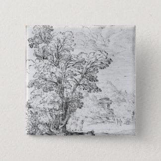 Bewaldete Landschaft Quadratischer Button 5,1 Cm