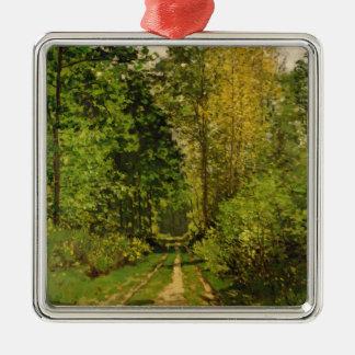 Bewaldeter Weg Claude Monets | Silbernes Ornament