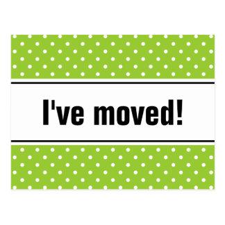 Bewegliche apfelgrüne Punkte der Postkarten | des