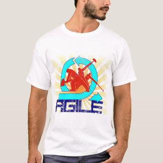 Bewegliche Arbeitskräfte mit Sun-Strahln-Vintager T-Shirt