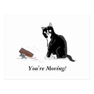 Bewegliche Zuhause-, Cartoonkatze und Maus, Postkarte