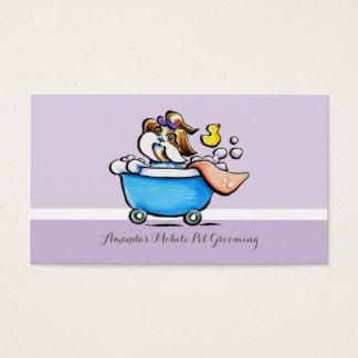 Beweglicher HaustierGroomer Shih Tzu lila Visitenkarte