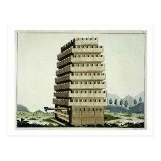 Beweglicher Turm mit äußeren Galerien und einem Postkarten