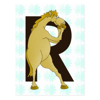 Bewegliches Pony des Monogramm-R besonders Postkarte