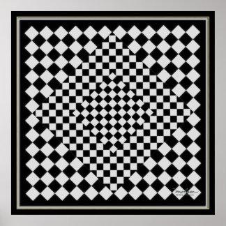 Bewegliches schwarzes und silbernes Bild Poster