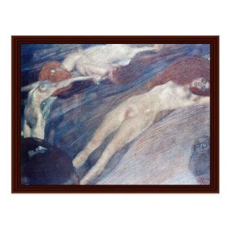 Bewegliches Wasser durch Klimt Gustav Postkarte