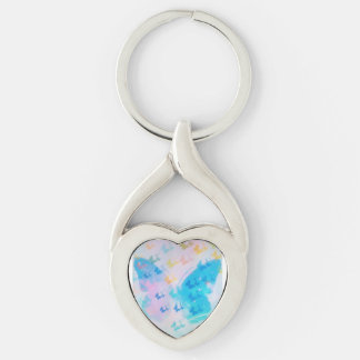 Bewölkter Herz-Schmetterling Keychain Schlüsselanhänger