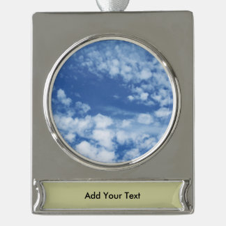 Bewölkter Himmel Banner-Ornament Silber