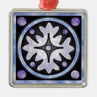Bewölktes Buntglas Silbernes Ornament