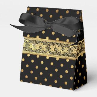 Bezaubernde goldene Punkt-schwarze Spitze-Streifen Geschenkschachtel