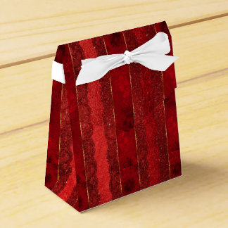 Bezaubernde goldene rote Spitze-Streifen Geschenkschachtel