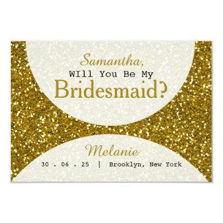 Bezaubernde GoldGlitter-Brautjungfer 8,9 X 12,7 Cm Einladungskarte