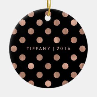Bezaubernde Imitat-Rosen-Goldpunkte auf Schwarzem Keramik Ornament
