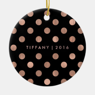 Bezaubernde Imitat-Rosen-Goldpunkte auf Schwarzem Rundes Keramik Ornament