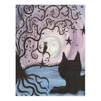 Bezaubernde Katze mit der Mondpostkarte Postkarte