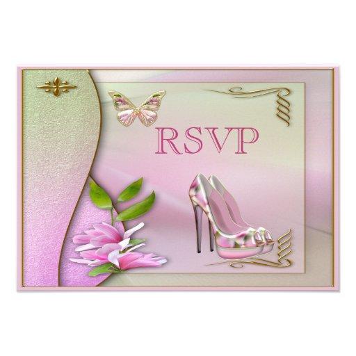 Bezaubernde Schuh-rosa Magnolien-Schmetterling Ankündigungskarten