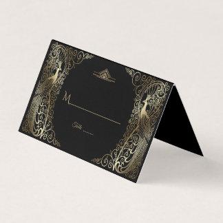 Bezaubernde Wedding Goldkunst-Deko-Pfaus Platzkarte