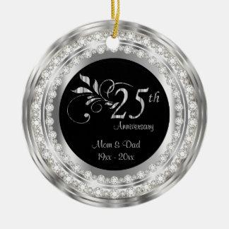 Bezaubernder 25. silberner Hochzeitstag Rundes Keramik Ornament