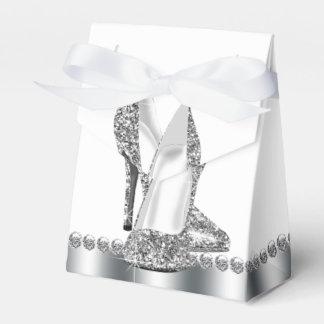 Bezaubernder Chic-Silber-Glitter-hohe Fersen-Schuh Geschenkschachteln