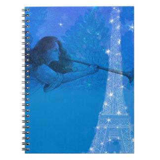 Bezaubernder Engels-funkelnder Eiffelturm Spiral Notizblock