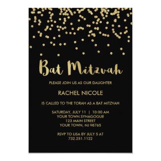 Bezaubernder Goldconfetti-Schläger Mitzvah auf 12,7 X 17,8 Cm Einladungskarte