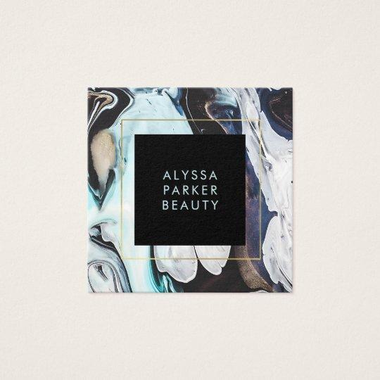 Bezaubernder moderner Tinten-Wirbel mit Schwarzem Quadratische Visitenkarte