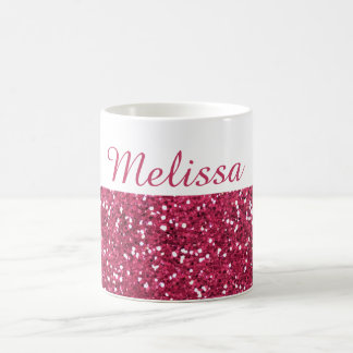 Bezaubernder rosa Glitter-individueller Name Kaffeetasse