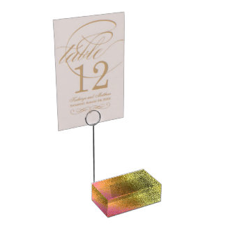 Bezaubernder Rosa-und Goldtabellen-Kartenhalter