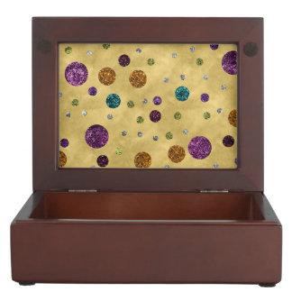 Bezauberndes Glitter-Polka-Punkt-Gold Erinnerungsdose