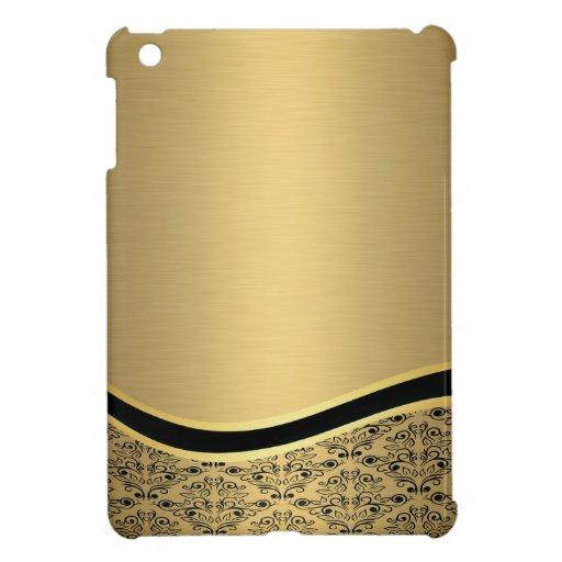 Bezauberndes goldenes Damastluxusmonogramm iPad Mini Cover