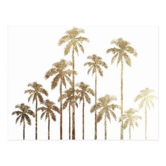 Bezauberndes Goldtropische Palmen auf Weiß Postkarte