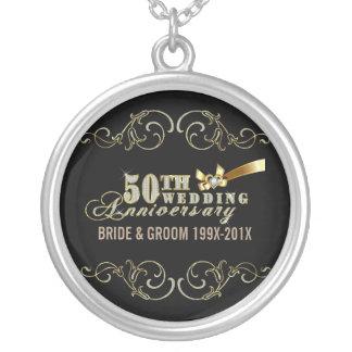 Bezauberndes Hochzeits-Jahrestags-Muster des Halskette Mit Rundem Anhänger